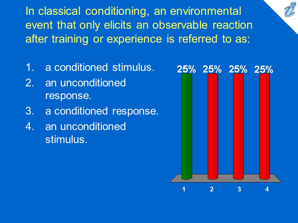 In classical conditioning, an environmental event that only elicits an observable reaction after training or experience is referred to as: