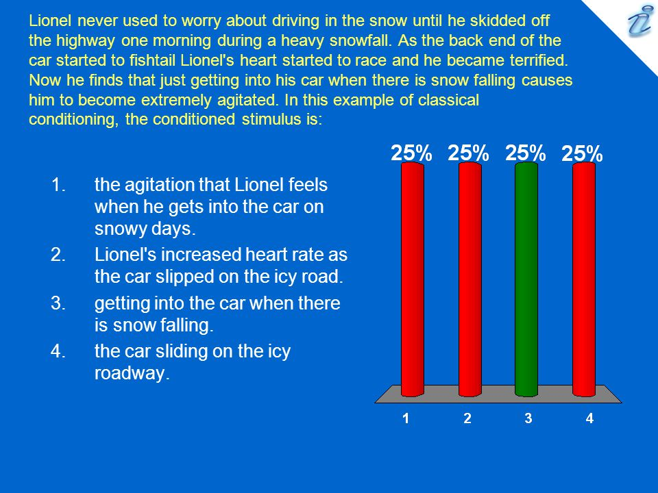 Lionel s increased heart rate as the car slipped on the icy road.