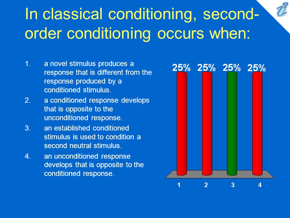 In classical conditioning, second-order conditioning occurs when: