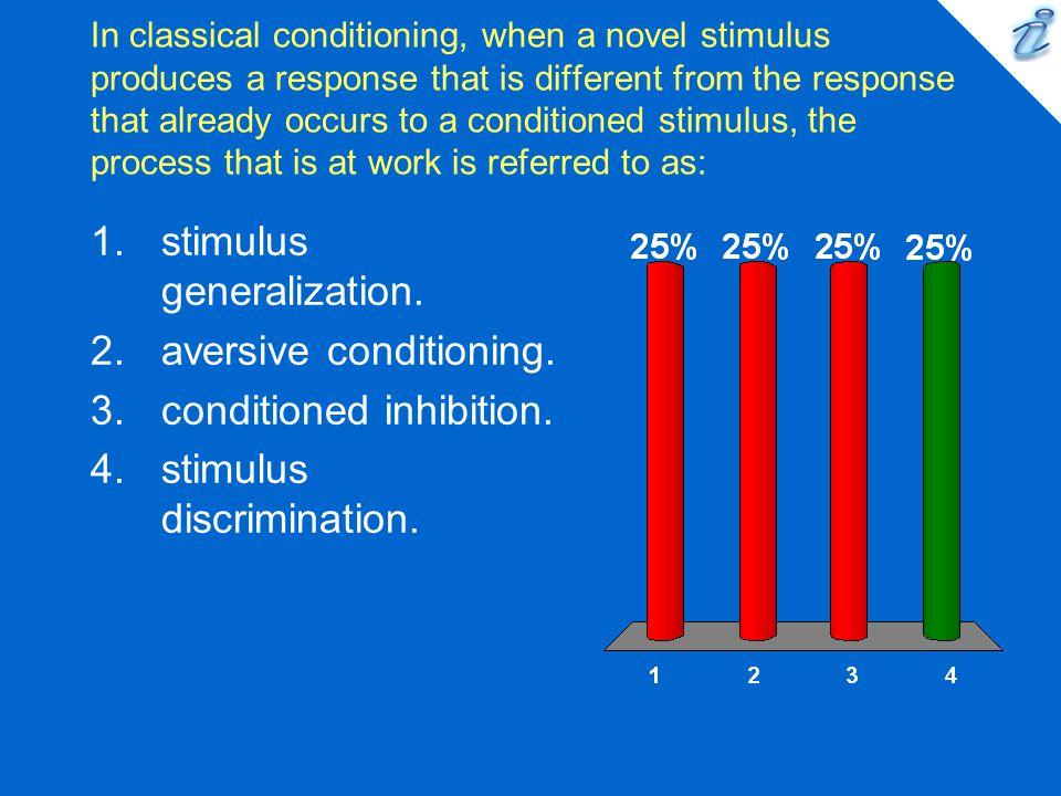 stimulus generalization. aversive conditioning.