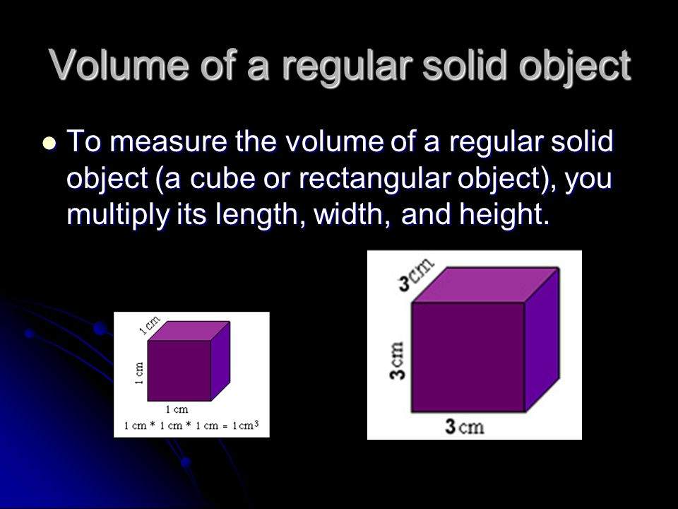 Volume of a regular solid object
