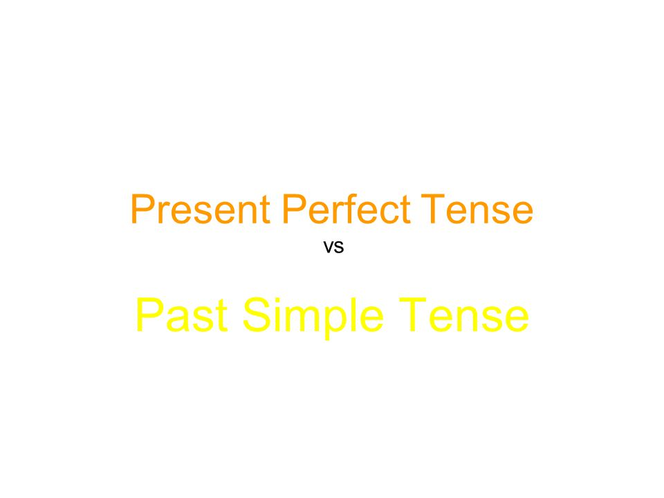 Present Perfect Tense vs Past Simple Tense