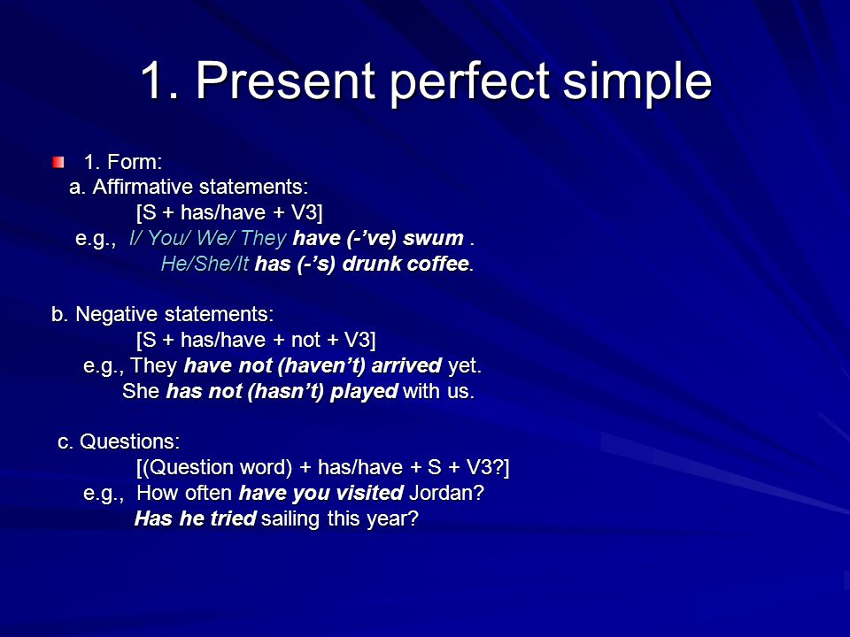 1. Present perfect simple