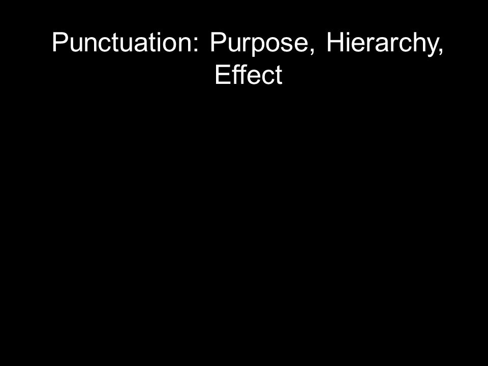 Punctuation: Purpose, Hierarchy, Effect