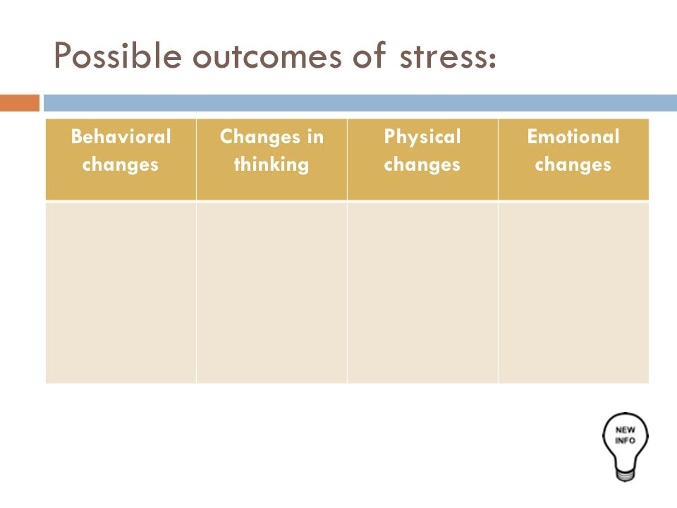 Possible outcomes of stress:
