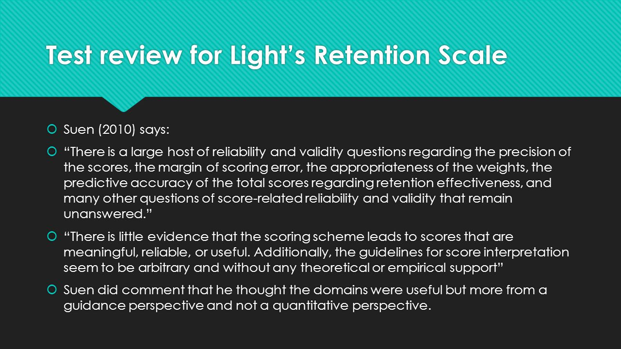 Test review for Light's Retention Scale