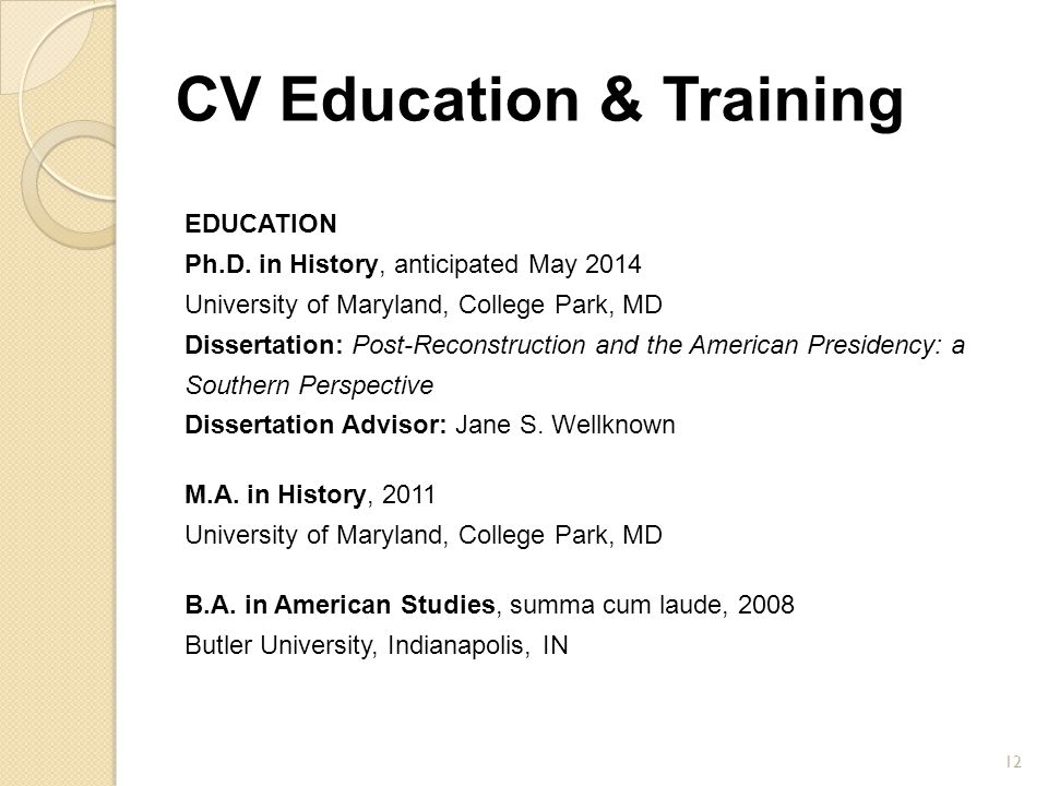 CV Education & Training