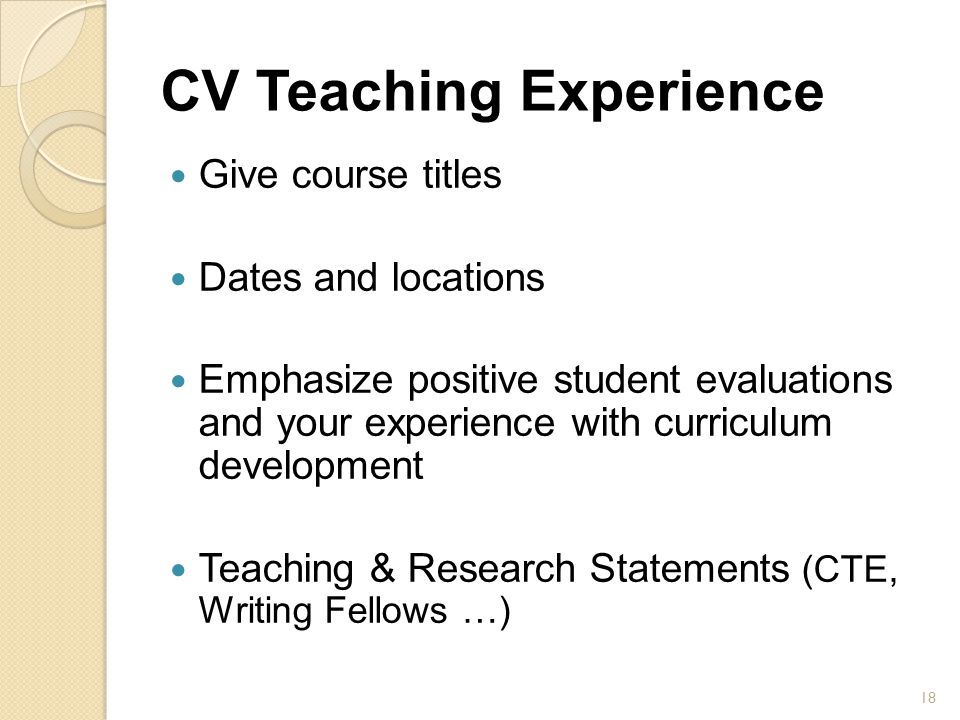 CV Teaching Experience