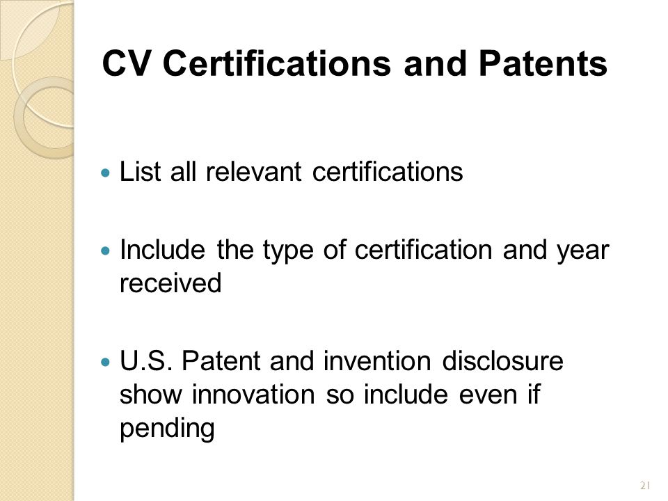 CV Certifications and Patents
