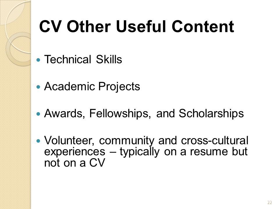 CV Other Useful Content