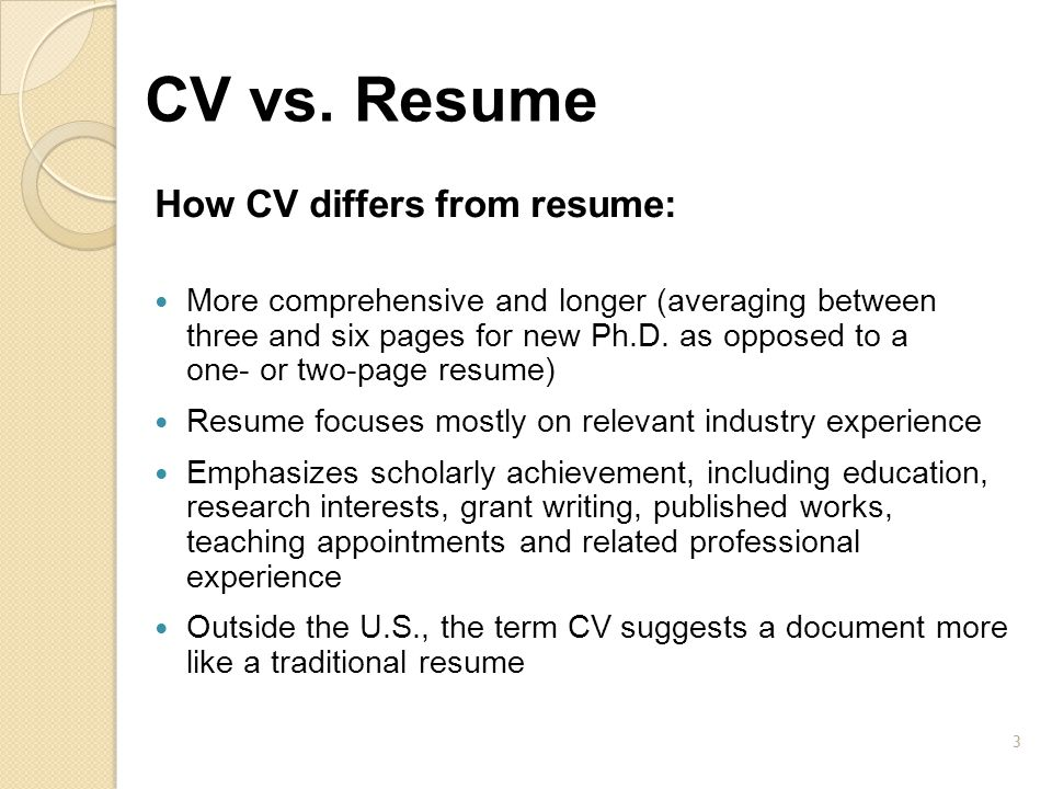 CV vs. Resume How CV differs from resume: