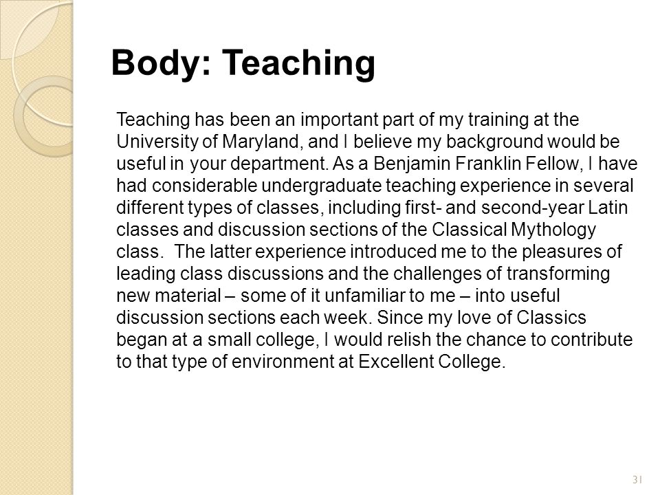 Body: Teaching