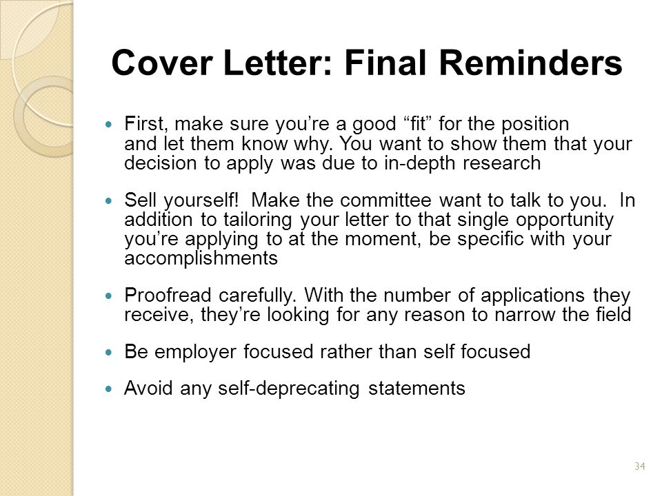 Cover Letter: Final Reminders