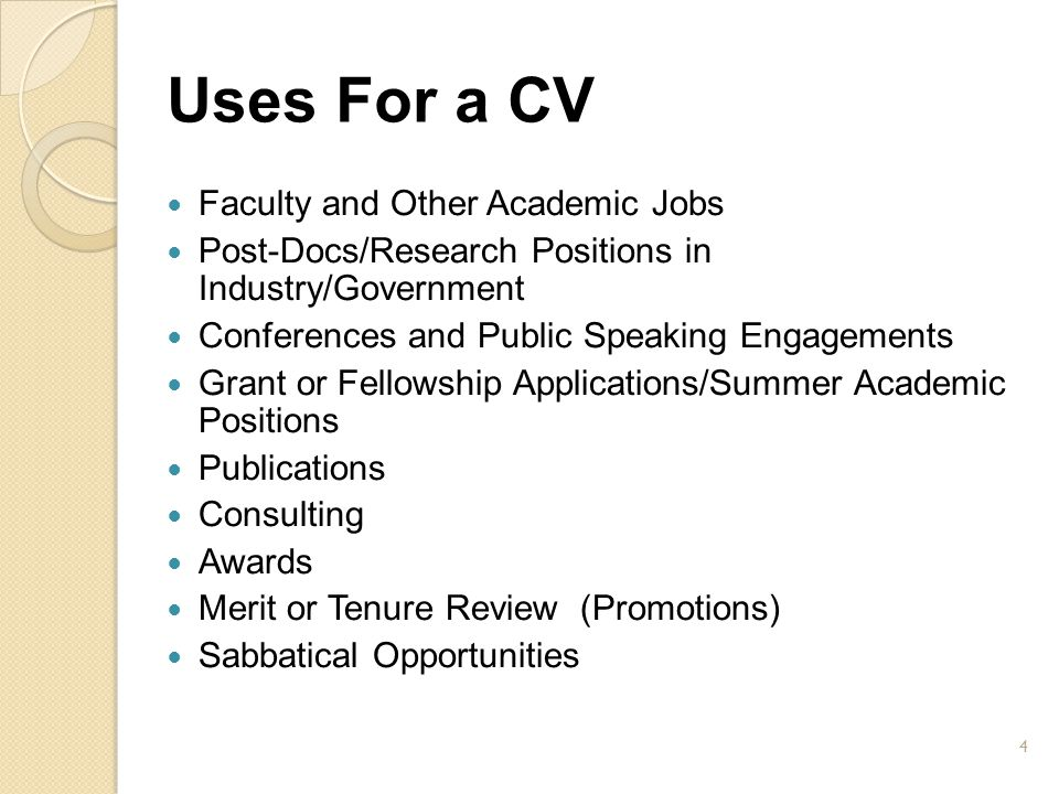 Uses For a CV Faculty and Other Academic Jobs
