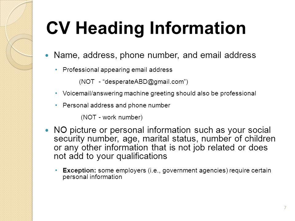 CV Heading Information