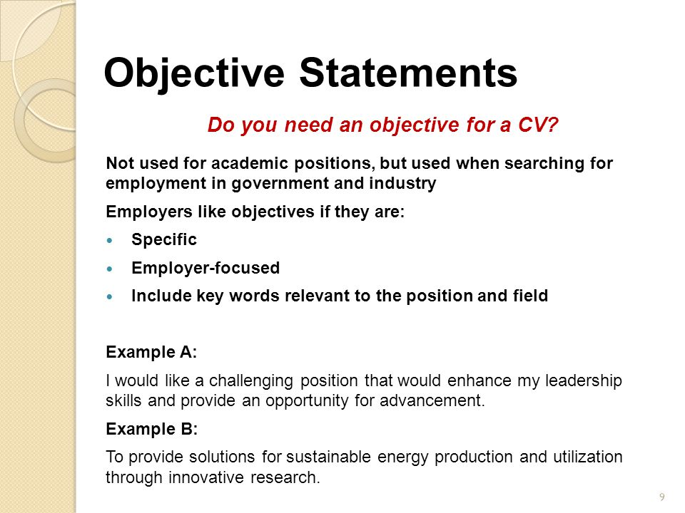 Do you need an objective for a CV