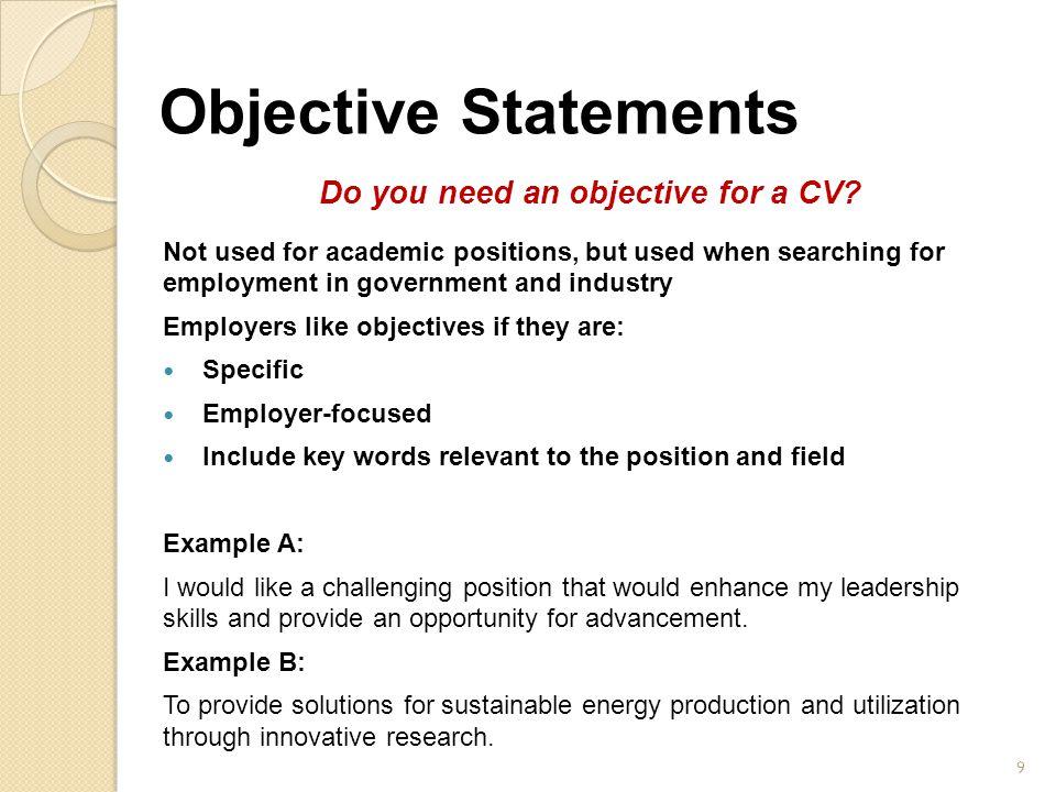 Resume need objective