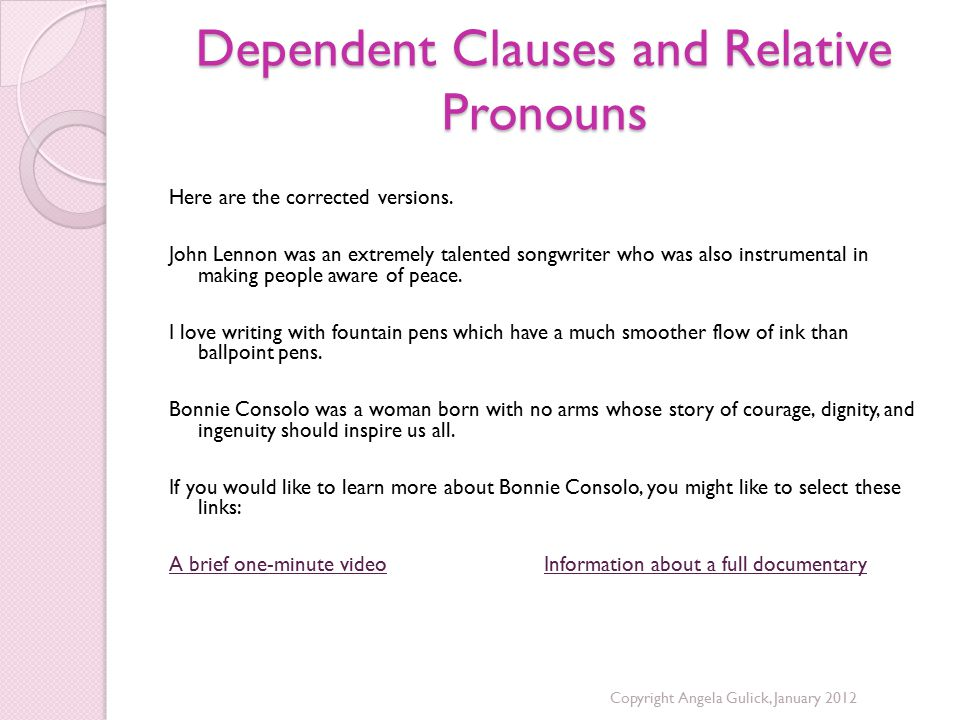 Dependent Clauses and Relative Pronouns