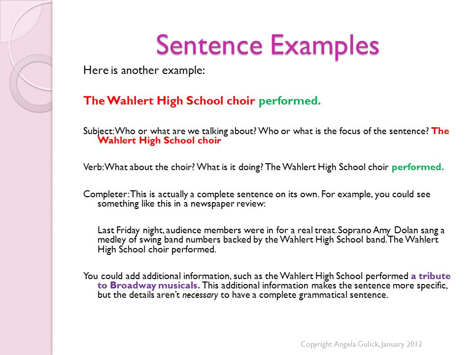 Sentence Examples Here is another example: