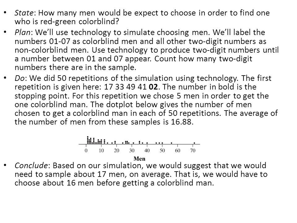 State: How many men would be expect to choose in order to find one who is red-green colorblind
