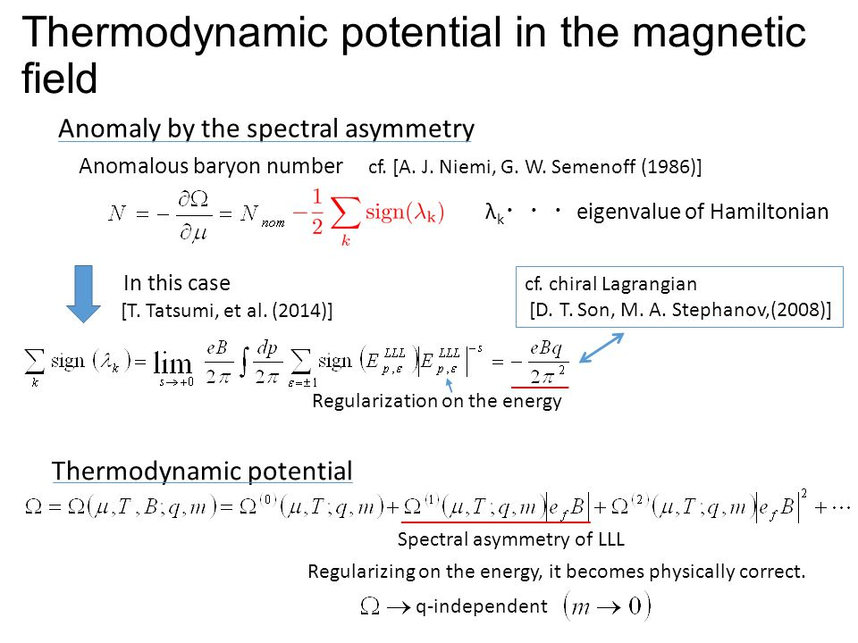 Thermodynamic potential in the magnetic field