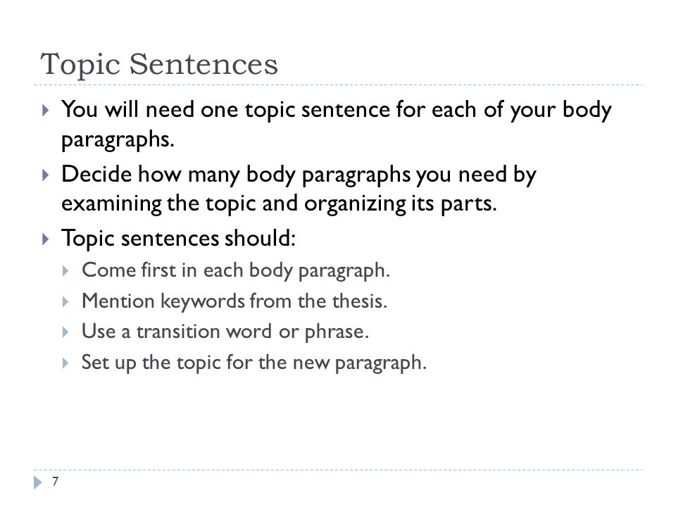 Topic Sentences You will need one topic sentence for each of your body paragraphs.