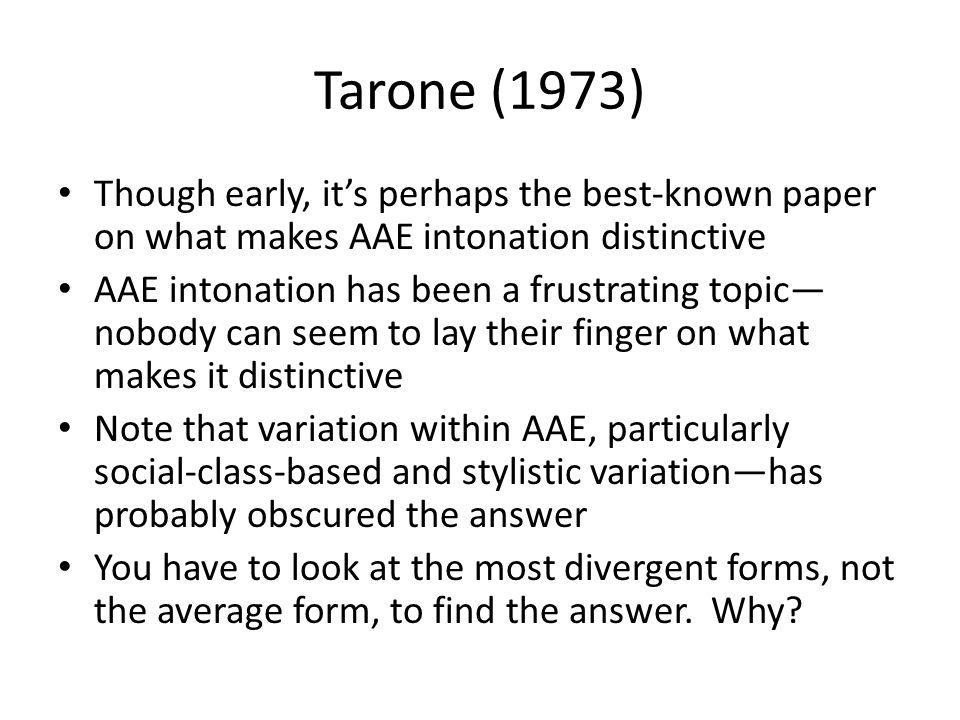 Tarone (1973) Though early, it's perhaps the best-known paper on what makes AAE intonation distinctive.