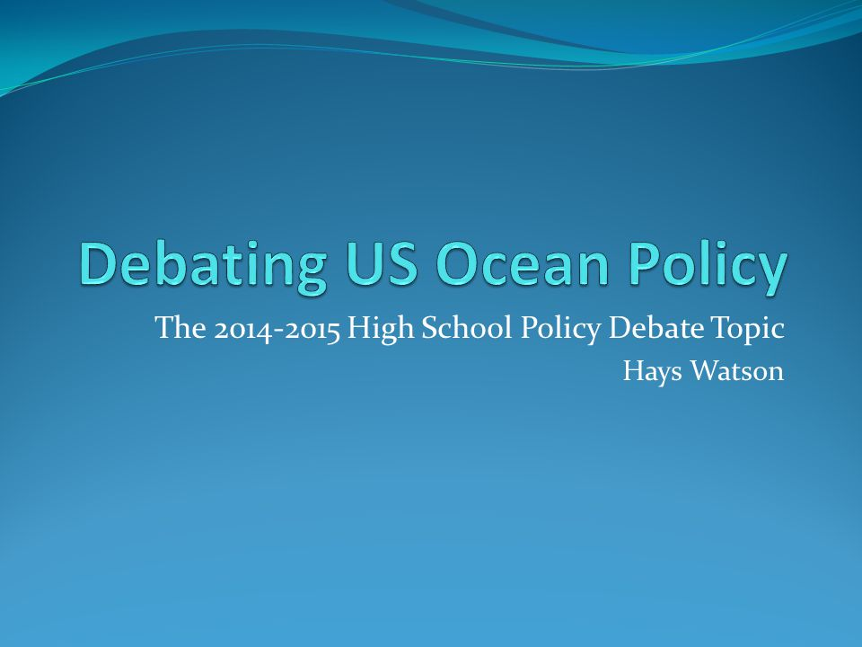 Debating US Ocean Policy