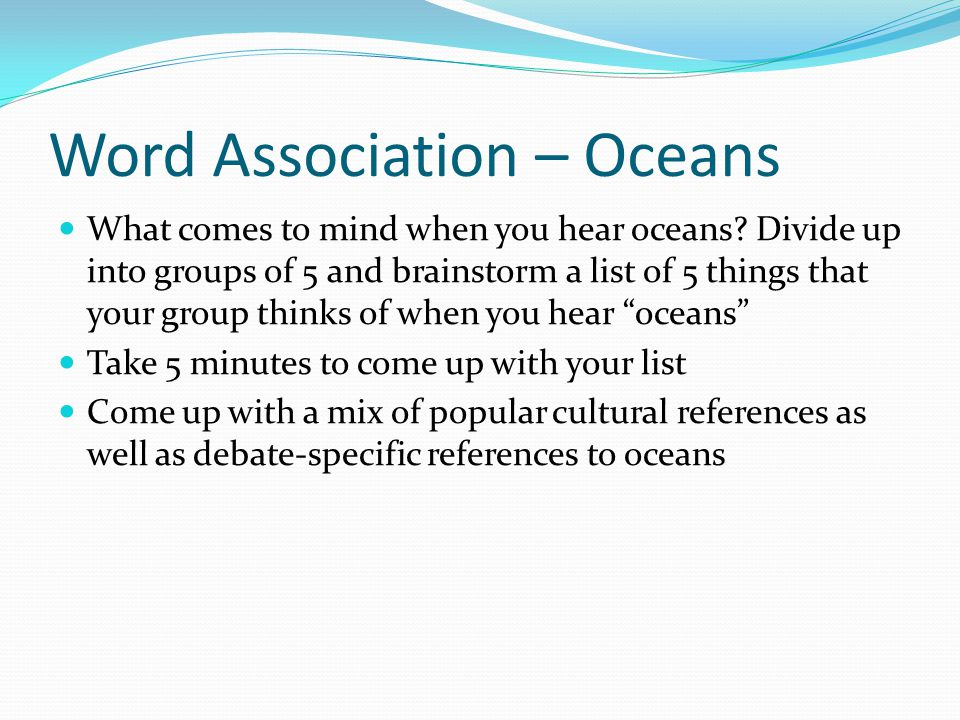 Word Association – Oceans