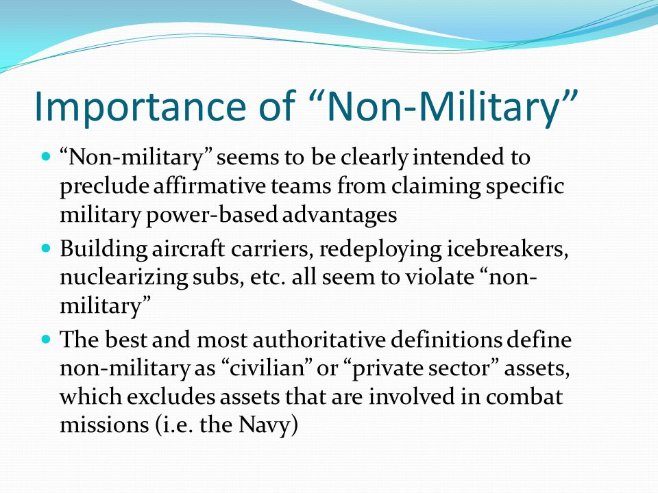 Importance of Non-Military