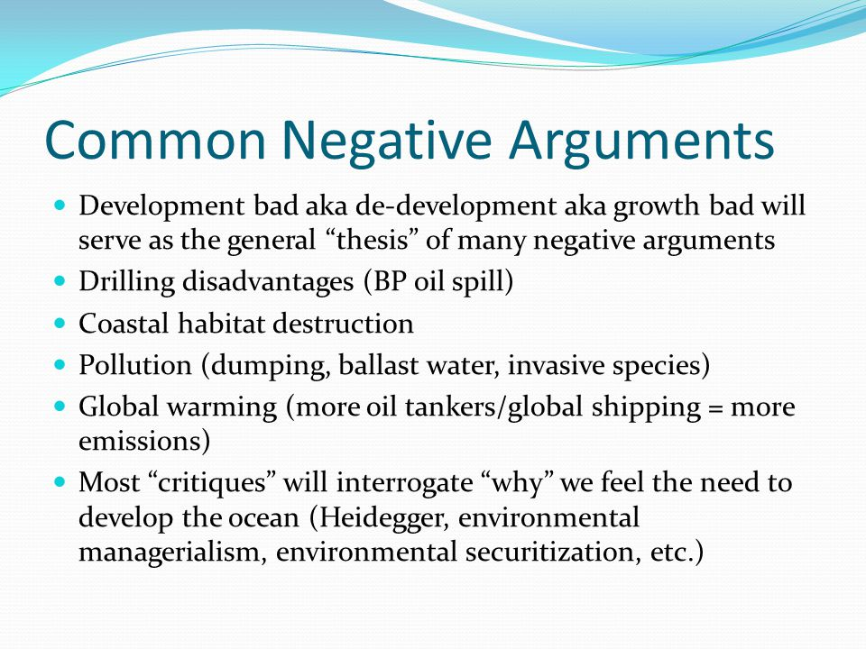 Common Negative Arguments