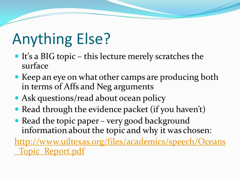 Anything Else It's a BIG topic – this lecture merely scratches the surface.