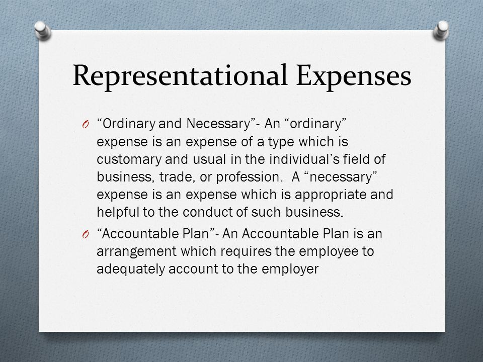 Representational Expenses