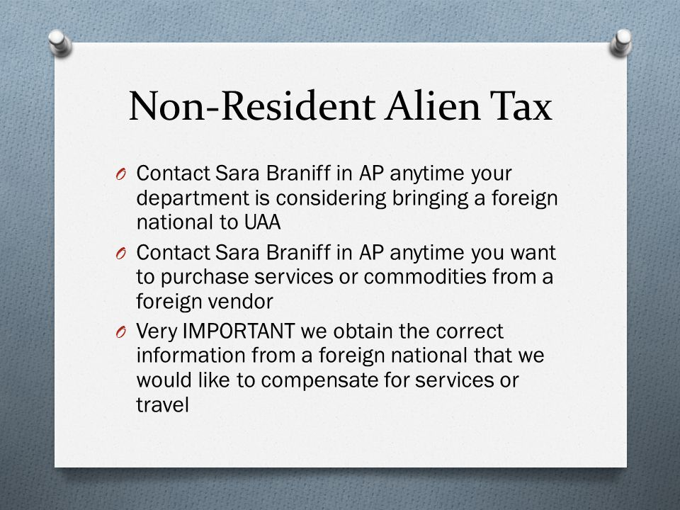 Non-Resident Alien Tax