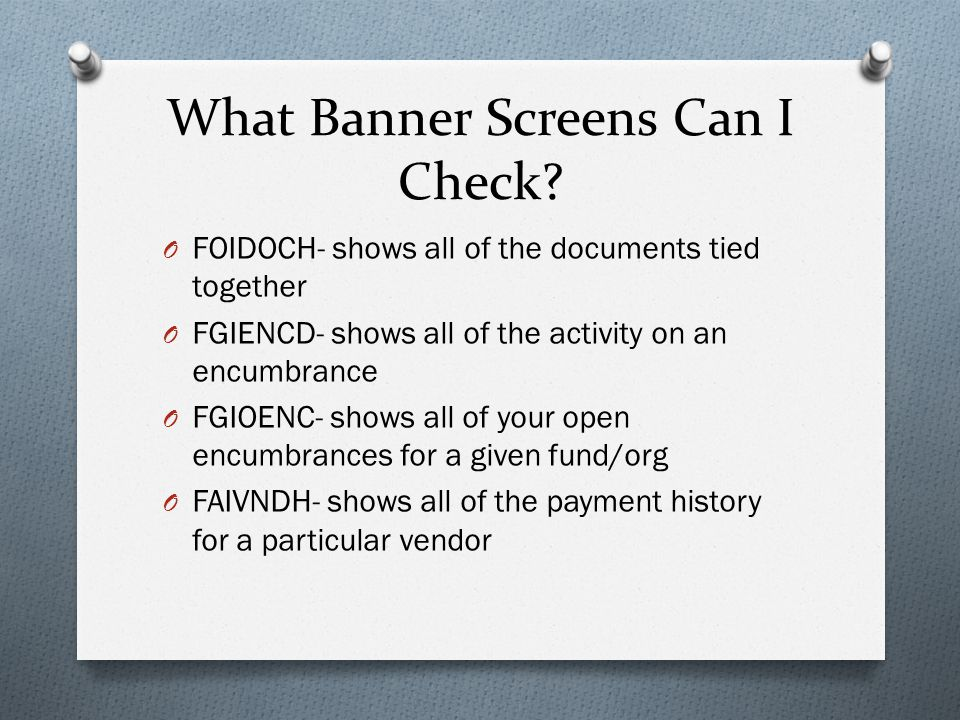What Banner Screens Can I Check