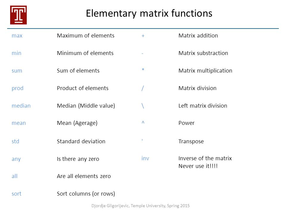 Elementary matrix functions