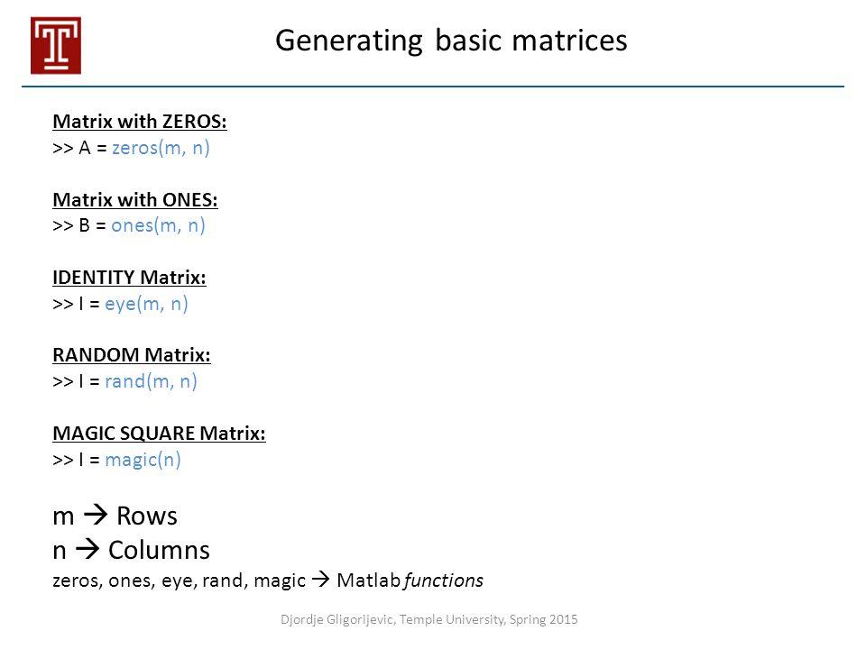 Generating basic matrices
