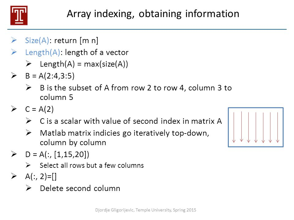 Array indexing, obtaining information
