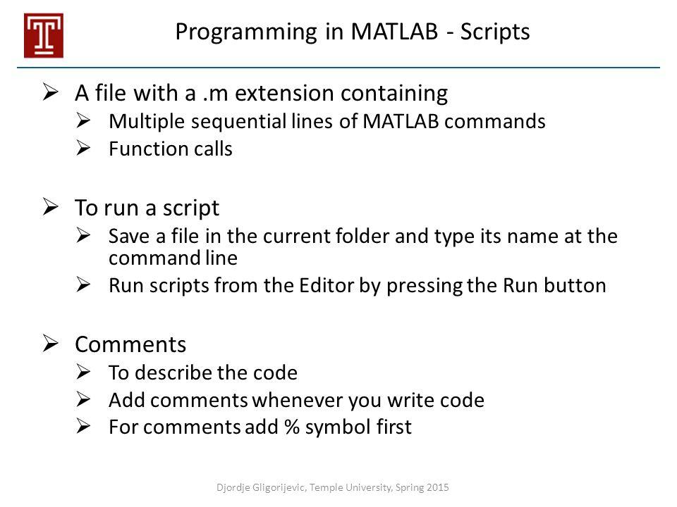 Programming in MATLAB - Scripts