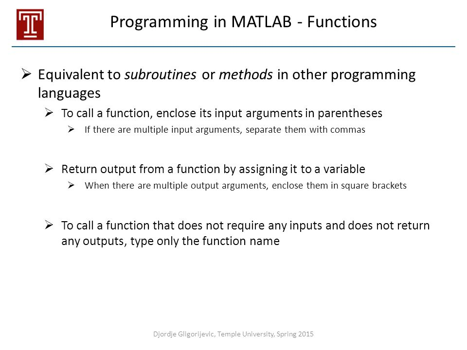 Programming in MATLAB - Functions