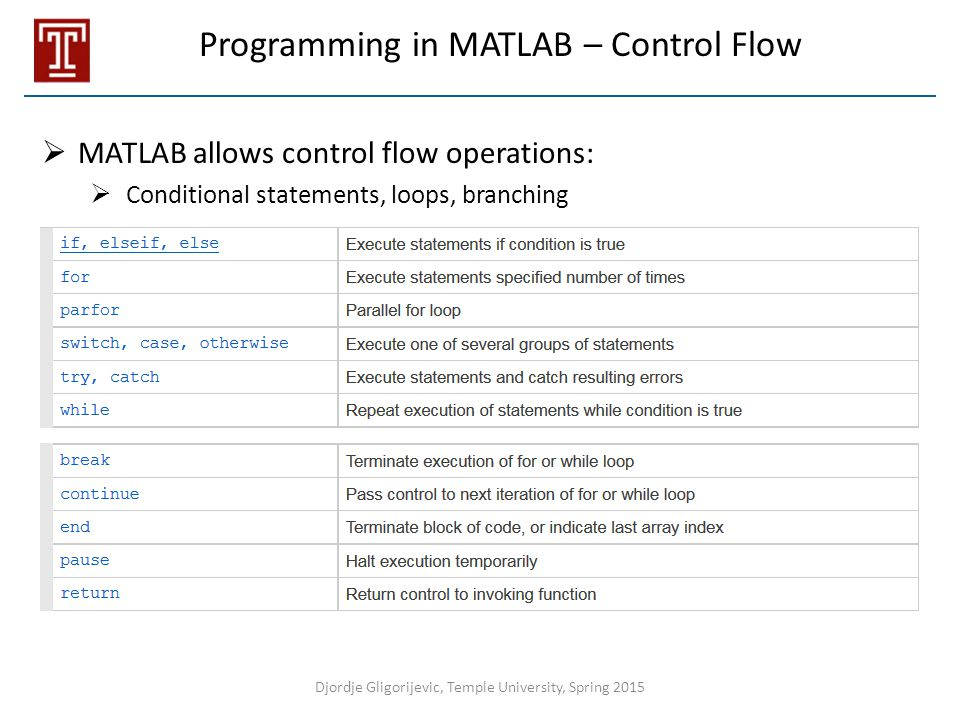 Programming in MATLAB – Control Flow