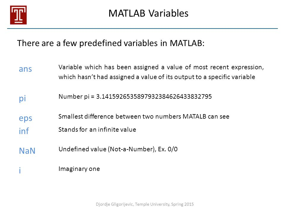 There are a few predefined variables in MATLAB: