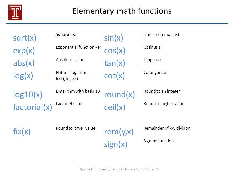 Elementary math functions