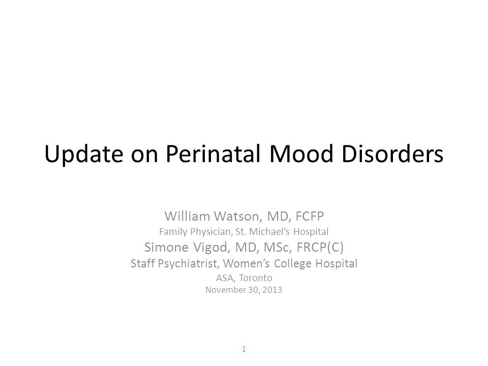 Update on Perinatal Mood Disorders