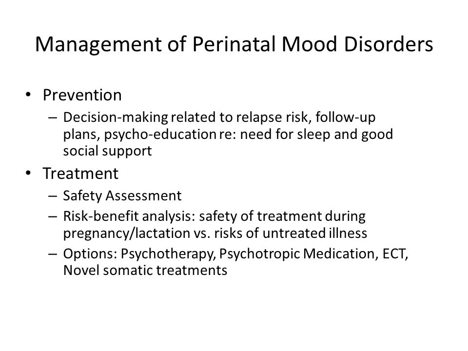 Management of Perinatal Mood Disorders