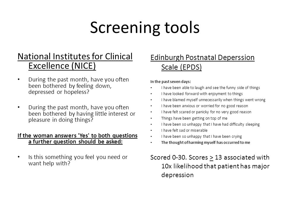 Screening tools National Institutes for Clinical Excellence (NICE)
