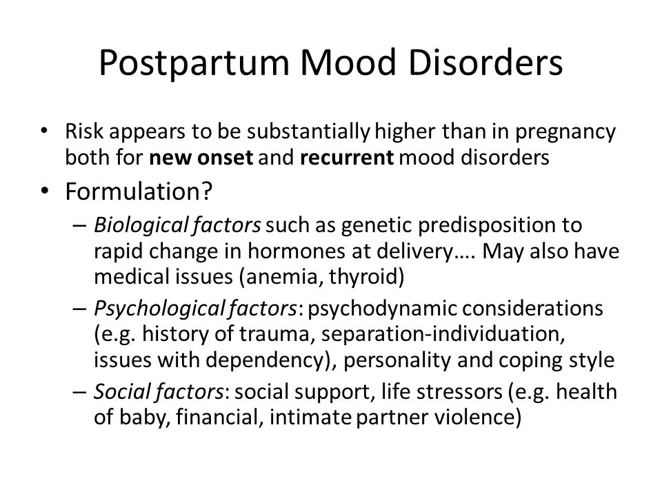 Postpartum Mood Disorders