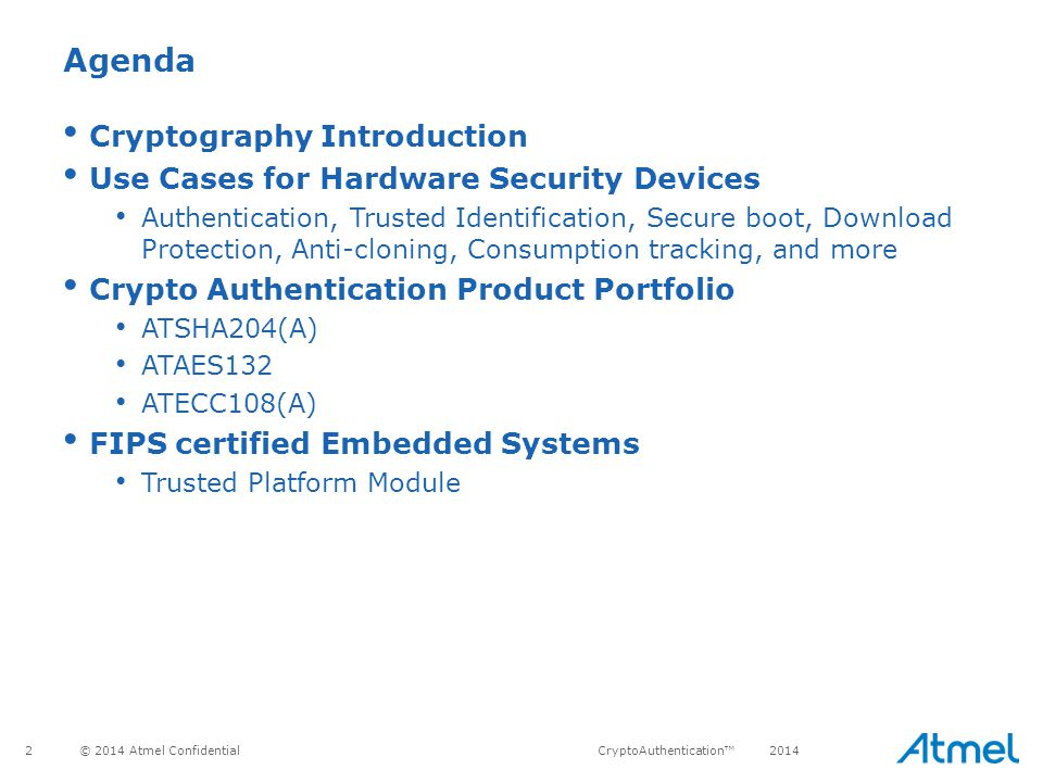 Agenda Cryptography Introduction