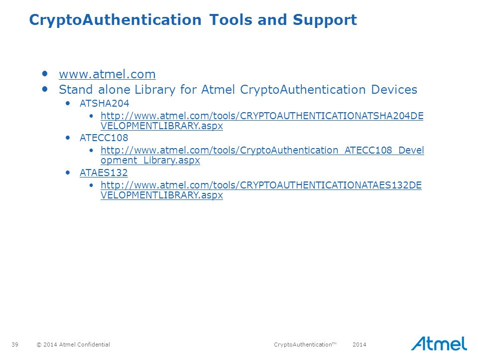 CryptoAuthentication Tools and Support