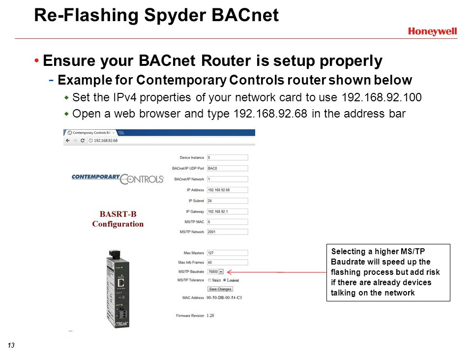 Re-Flashing Spyder BACnet